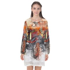 Car Old Car Art Abstract Long Sleeve Chiffon Shift Dress  by Celenk