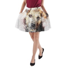 Dog Animal Pet Art Abstract A Line Pocket Skirt by Celenk