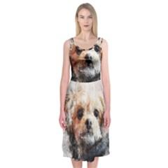 Dog Animal Pet Art Abstract Midi Sleeveless Dress