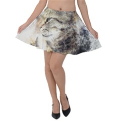 Cat Animal Art Abstract Watercolor Velvet Skater Skirt by Celenk