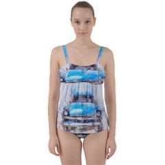 Car Old Car Art Abstract Twist Front Tankini Set by Celenk