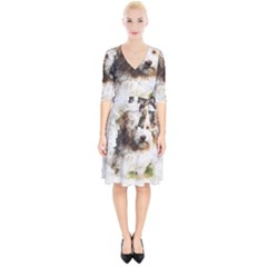 Dog Animal Pet Art Abstract Wrap Up Cocktail Dress by Celenk