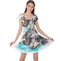 Dog Animal Art Abstract Watercolor Cap Sleeve Dress