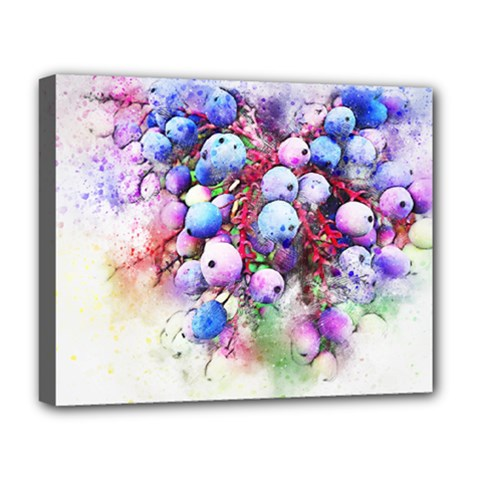 Berries Pink Blue Art Abstract Deluxe Canvas 20  X 16
