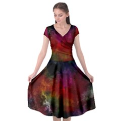 Abstract Picture Pattern Galaxy Cap Sleeve Wrap Front Dress by Celenk