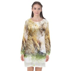 Bear Baby Sitting Art Abstract Long Sleeve Chiffon Shift Dress  by Celenk