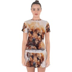 Dog Puppy Animal Art Abstract Drop Hem Mini Chiffon Dress by Celenk