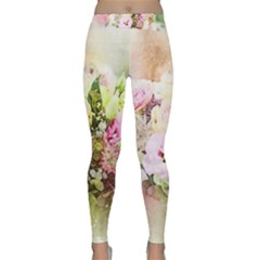 Flowers Bouquet Art Abstract Classic Yoga Leggings by Celenk