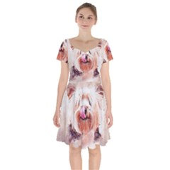 Dog Animal Pet Art Abstract Short Sleeve Bardot Dress