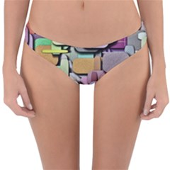 Background Painted Squares Art Reversible Hipster Bikini Bottoms by Celenk