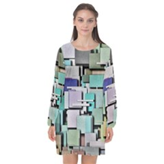 Background Painted Squares Art Long Sleeve Chiffon Shift Dress  by Celenk