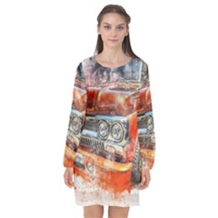Car Old Car Art Abstract Long Sleeve Chiffon Shift Dress