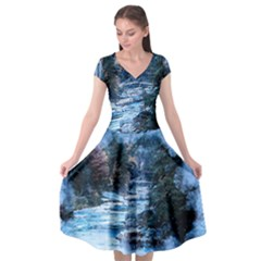 River Water Art Abstract Stones Cap Sleeve Wrap Front Dress by Celenk