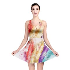 Feathers Bird Animal Art Abstract Reversible Skater Dress by Celenk