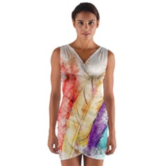 Feathers Bird Animal Art Abstract Wrap Front Bodycon Dress by Celenk