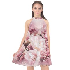 Flowers Bouquet Art Abstract Halter Neckline Chiffon Dress  by Celenk