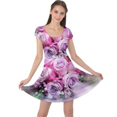 Flowers Roses Bouquet Art Abstract Cap Sleeve Dress