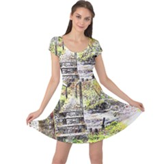 River Bridge Art Abstract Nature Cap Sleeve Dress