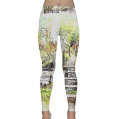 River Bridge Art Abstract Nature Classic Yoga Leggings by Celenk