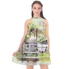 River Bridge Art Abstract Nature Halter Neckline Chiffon Dress