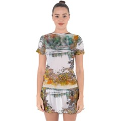 River Water Art Abstract Stones Drop Hem Mini Chiffon Dress by Celenk