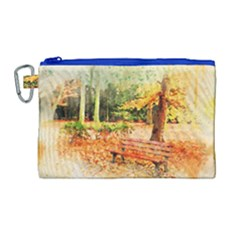 Tree Park Bench Art Abstract Canvas Cosmetic Bag (large) by Celenk