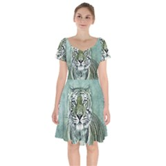 Tiger Cat Art Abstract Vintage Short Sleeve Bardot Dress