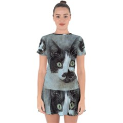 Cat Pet Art Abstract Vintage Drop Hem Mini Chiffon Dress by Celenk