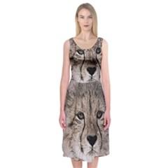 Leopard Art Abstract Vintage Baby Midi Sleeveless Dress