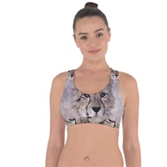 Leopard Art Abstract Vintage Baby Cross String Back Sports Bra by Celenk