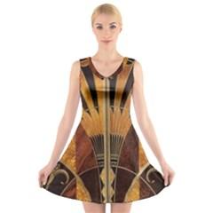 Art Deco Gold V Neck Sleeveless Skater Dress by 8fugoso