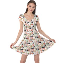 Colorful Pattern With Sushi Cap Sleeve Dress by CoolDesigns