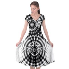 Ornaments Pattern Black White Cap Sleeve Wrap Front Dress by Cveti