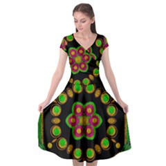 Magic Of Life A Orchid Mandala So Bright Cap Sleeve Wrap Front Dress by pepitasart