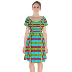 Gift Wrappers For Body And Soul Short Sleeve Bardot Dress by pepitasart