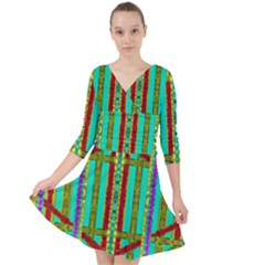 Gift Wrappers For Body And Soul In  A Rainbow Mind Quarter Sleeve Front Wrap Dress	 by pepitasart