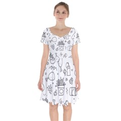 Set Chalk Out Scribble Collection Short Sleeve Bardot Dress by Celenk