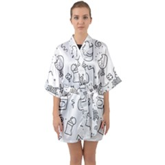 Set Chalk Out Scribble Collection Quarter Sleeve Kimono Robe