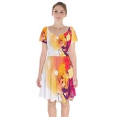 Paint Splash Paint Splatter Design Short Sleeve Bardot Dress by Celenk
