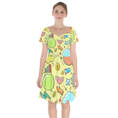 Cute Sketch Child Graphic Funny Short Sleeve Bardot Dress by Celenk