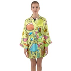 Cute Sketch Child Graphic Funny Long Sleeve Kimono Robe by Celenk