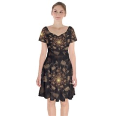 Fractal Flower Floral Bloom Brown Short Sleeve Bardot Dress by Celenk