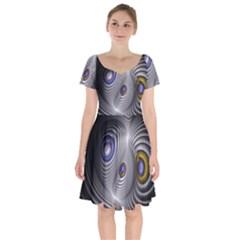 Fractal Silver Warp Pattern Short Sleeve Bardot Dress by Celenk