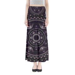 Fractal Mandala Circles Purple Full Length Maxi Skirt