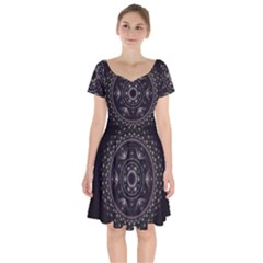 Fractal Mandala Circles Purple Short Sleeve Bardot Dress by Celenk