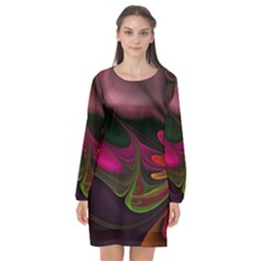 Fractal Abstract Colorful Floral Long Sleeve Chiffon Shift Dress  by Celenk