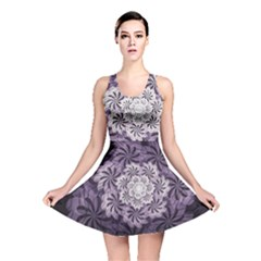 Fractal Floral Striped Lavender Reversible Skater Dress by Celenk