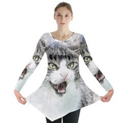 Cat Pet Art Abstract Watercolor Long Sleeve Tunic