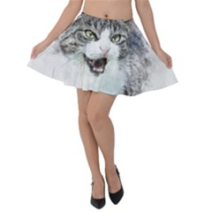 Cat Pet Art Abstract Watercolor Velvet Skater Skirt by Celenk