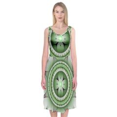 Fractal Mandala Green Purple Midi Sleeveless Dress